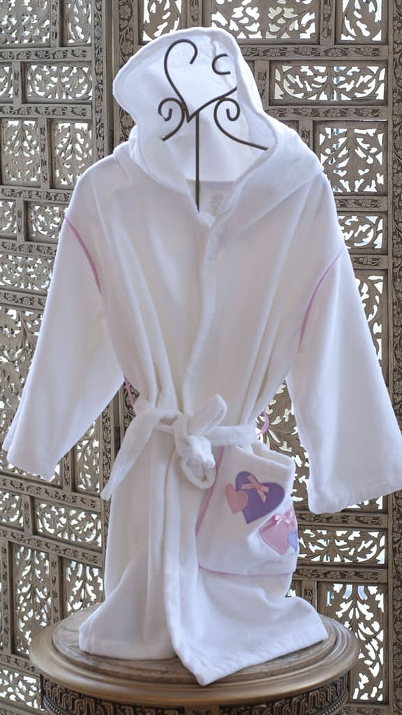 kids robes for girls in cotton terry made in USA buy online sale white with hearts motif