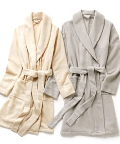 sferra sardinia cashmere robe in ivory and grey