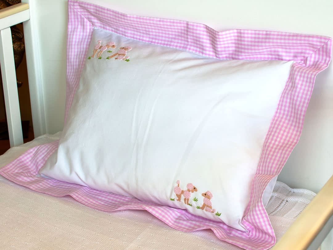 embroidered baby pillows and shams pink poodles