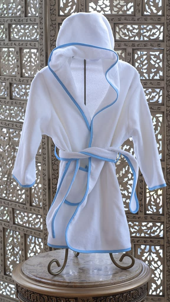 childrens terry bathrobes by Emissary Fine Linens in white with blue piping