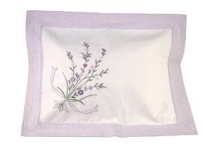 bouquet of lavender hand-embroidered baby pillow shams