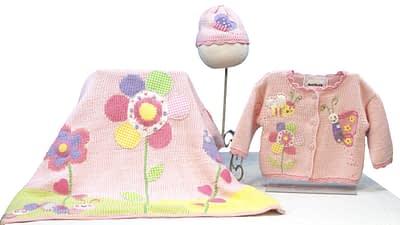 Art Walk Bee and Butterfly hand knit cotton baby attire