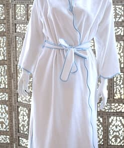 women's robes in fine cotton terry made in USA buy online sale white with scallop light blue piping