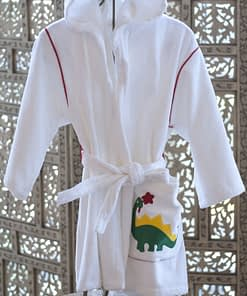 kids hooded robes in cotton terry made in USA buy online sale white with dinosaur motif