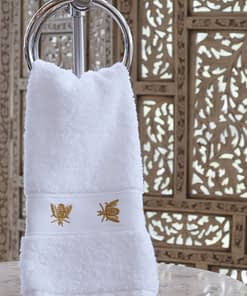 traditions linens french bee embroidered guest towel in gold
