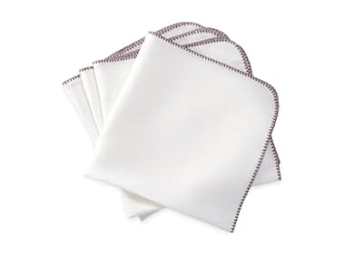 Washington DC Virginia Maryland Matouk Calypso napkins and tablecloths in white and fig