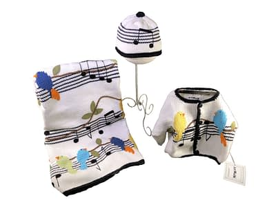 art walk musical birds knit set