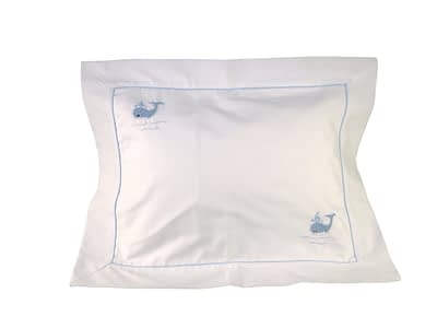 blue whales hand-embroidered baby pillow shams