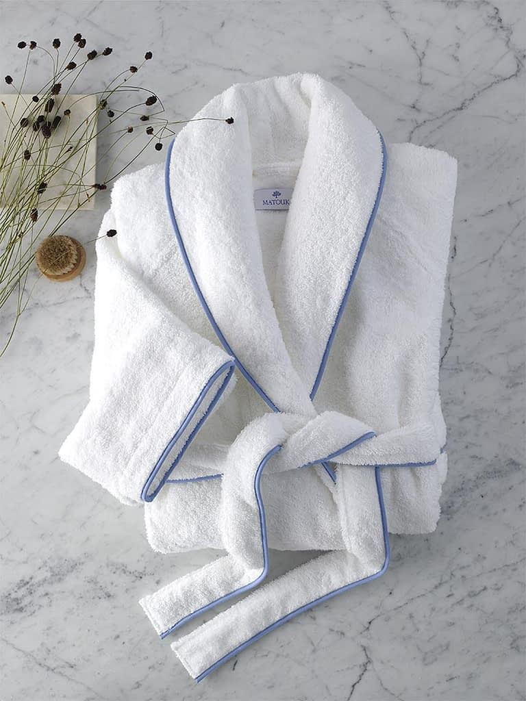 matouk cairo bathrobe in white and azure