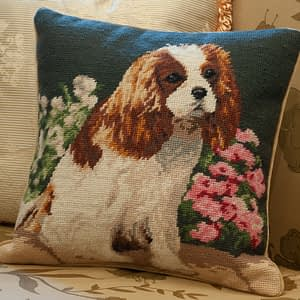Cavalier King Charles Spaniel Embroidered Needlepoint Dog Breed 12 inch Throw Pillows RTW0773