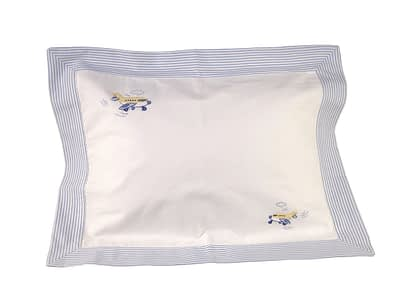 blue airplanes hand-embroidered baby pillow sham 2864