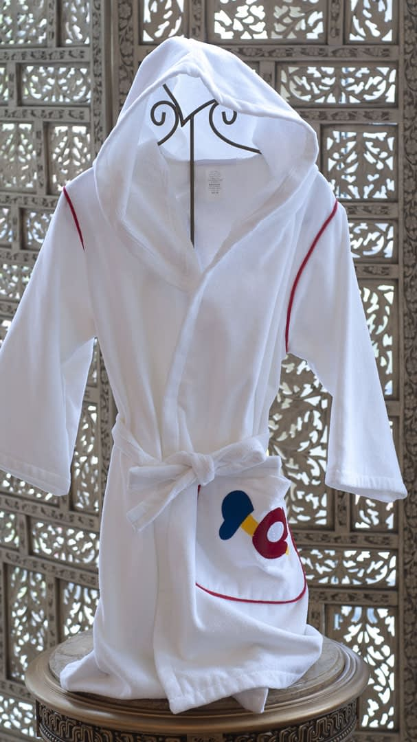 kids robes in cotton terry made in USA buy online sale white with baseball motif