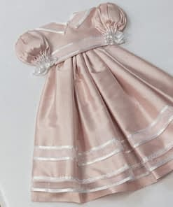 baby memory book by marcela dress in pink silk on white shantung detail dress 34baby memory books by marcella books