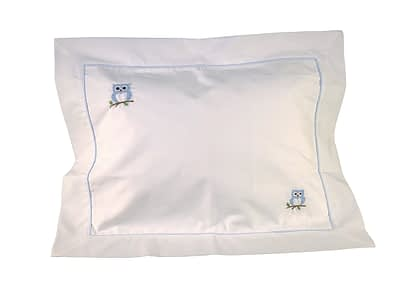blue owls hand-embroidered baby pillow shams