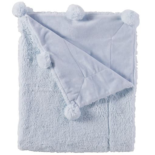 Online Washington DC Virginia Maryland Mud-Pie Baby Blankets Blue Pom Pom