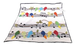 art walk musical birds knit baby blanket
