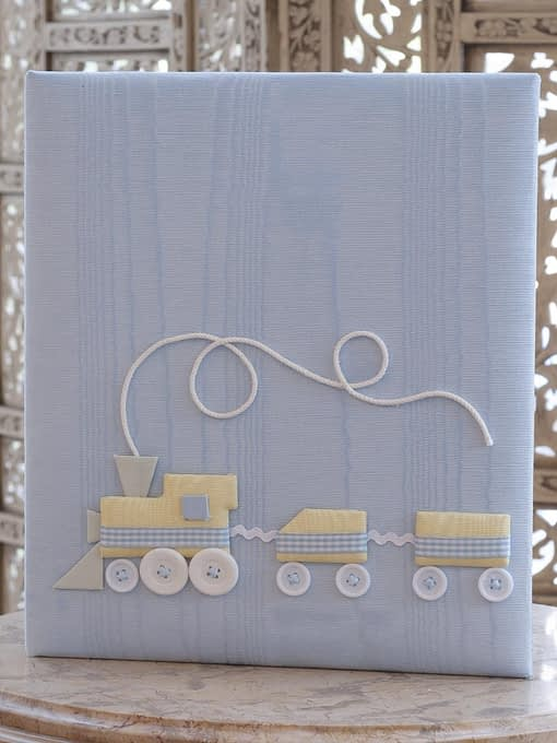 baby memory books by marcella books marcella books train in blue moire large
