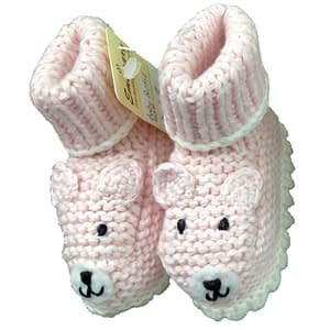 art walk knit booties pink bear