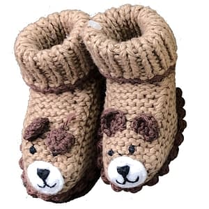 art walk knit booties brown bears