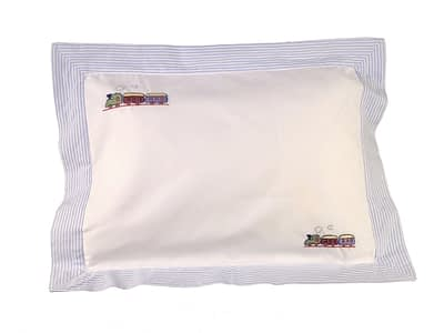 blue train hand-embroidered baby pillow shams