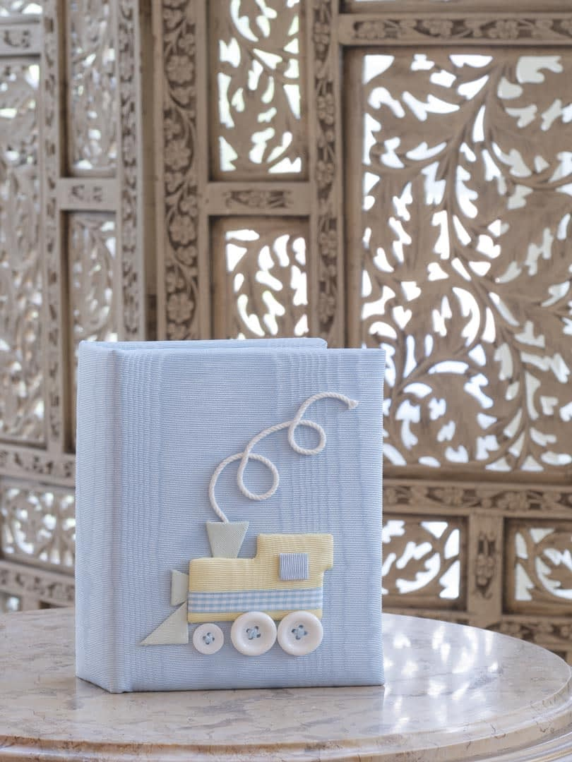 baby photo books by marcella train in blue moire