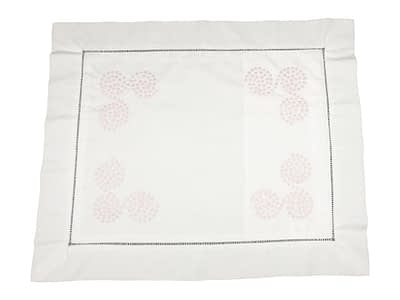 embroidered baby pillow shams with pink polka dot swirls