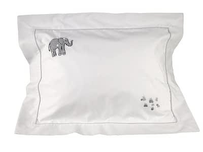 grey elephants hand-embroidered baby pillow shams