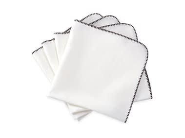 Washington DC Virginia Maryland Matouk Calypso napkins and tablecloths in white and charcoal