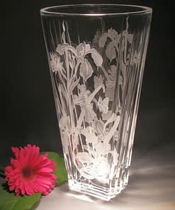 evergreen crystal 11-inch cut vase with bumblebee and butterfly