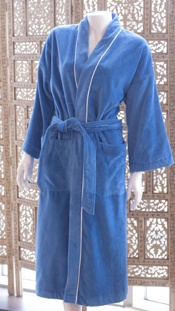 unisex robes for women or men in cotton terry made in USA buy online sale blue with white piping