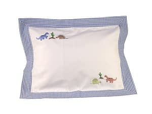 blue dinosaur hand-embroidered baby pillow shams