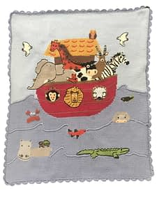 artwalk noahs ark blue hand-knit baby blanket 1510i
