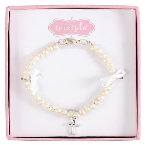Freshwater Pearl Bracelet with Sterling Silver Cross for Baby