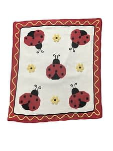 ArtWalk ladybugs and daisies baby blanket hand-knit 1497