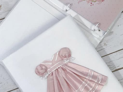 baby memory books by marcella books baby memory book by marcela dress in pink silk on white shantung detail 34