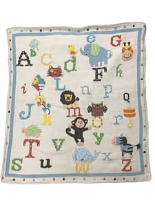 artwalk alphabet soup hand-knit baby blanket 1998