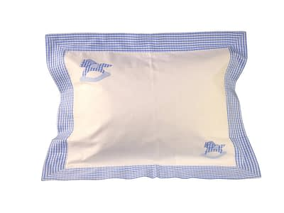 blue rocking horse hand-embroidered baby pillow shams