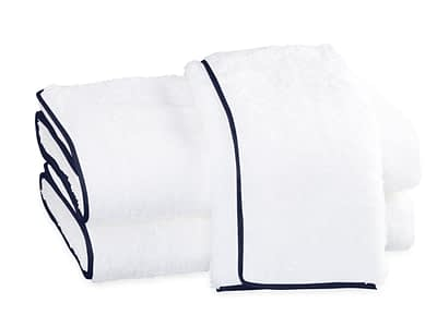 Matouk Cairo Straight Piping towels on sale authorized dealer White and Navy