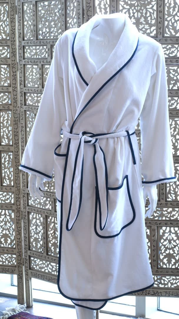 unisex bathrobes for women or men in cotton terry made in USA buy online sale navy blue with white piping