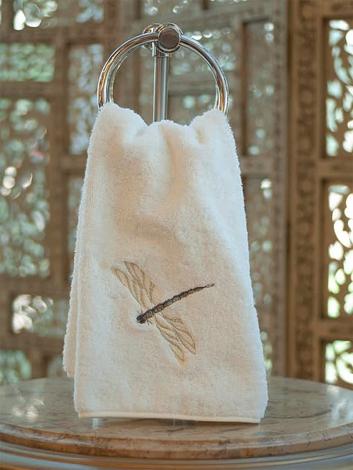 Anali Guest Towels Dragonfly Ivory Terry