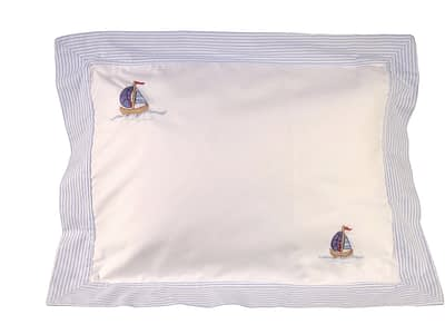 blue sailboats hand-embroidered baby pillow shams