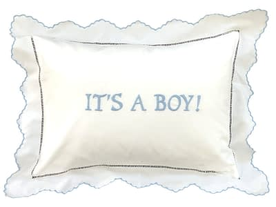 its a boy hand-embroidered baby pillow sham