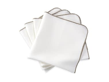 Washington DC Virginia Maryland Matouk Calypso napkins and tablecloths in white and stone
