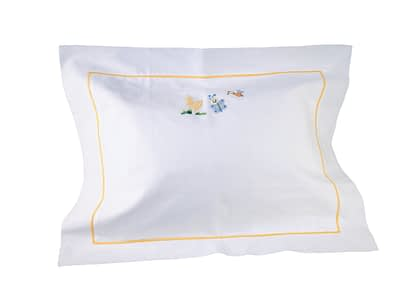 bee and butterfly baby hand-embroidered pillow sham