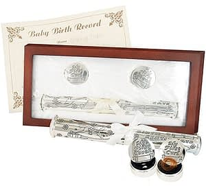 Washington DC Virginia Maryland Rosewood Birth Certificate Holder & Memory Set