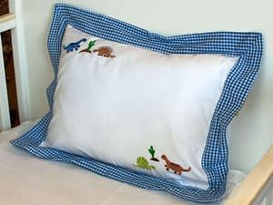 embroidered baby pillows and shams Blue Dinosaurs