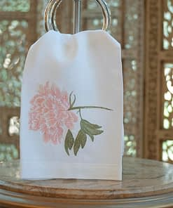 Anali Guest Towels Peony in Pink on White Linen