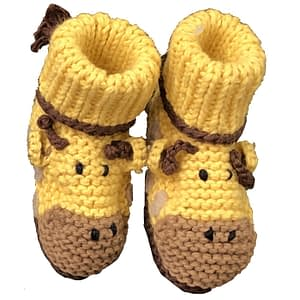 art walk knit booties giraffe