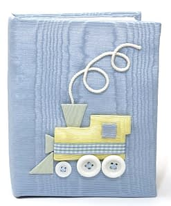 baby photo books by marcella train in blue moire 700