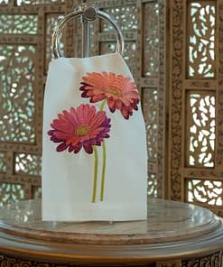 Anali Guest Towels Gerbera Red on linen